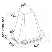 Falmec PENTA 90 H 60 Toulipier grezzo (600) неокр